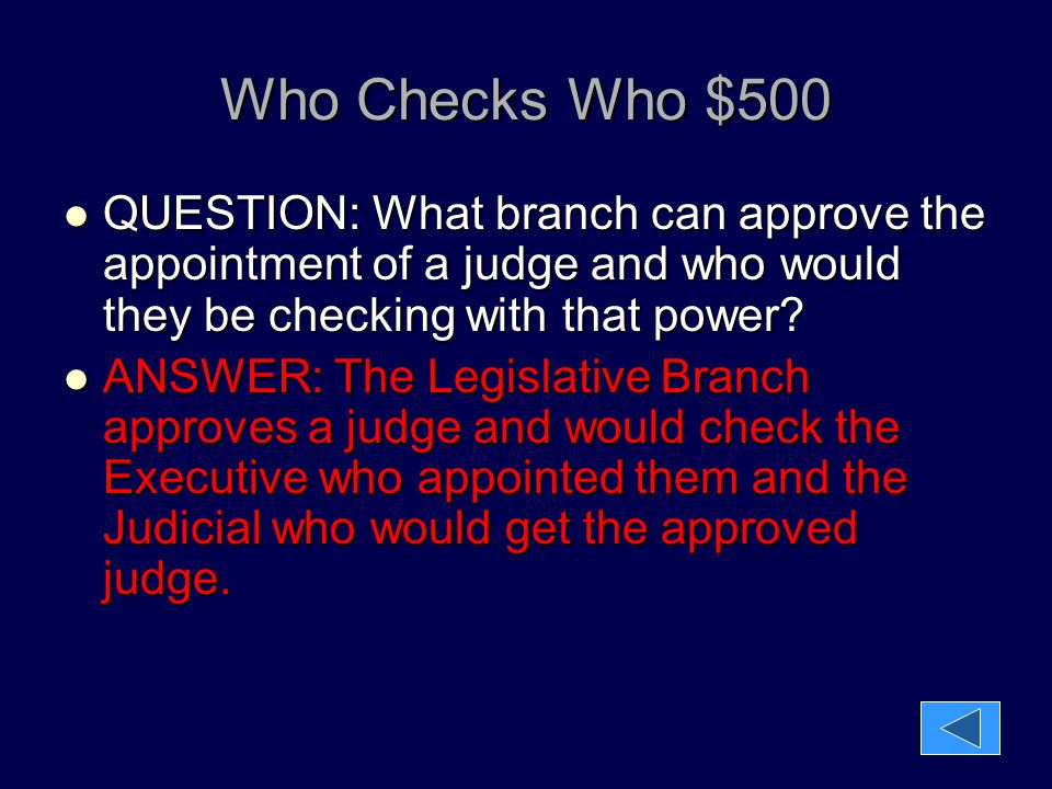 Who Checks Who $500 QUESTION: What branch can approve the appointment of a judge and who would they be checking with that power
