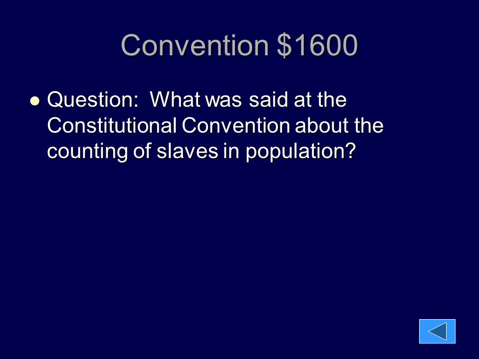 Convention $1600 Question: What was said at the Constitutional Convention about the counting of slaves in population