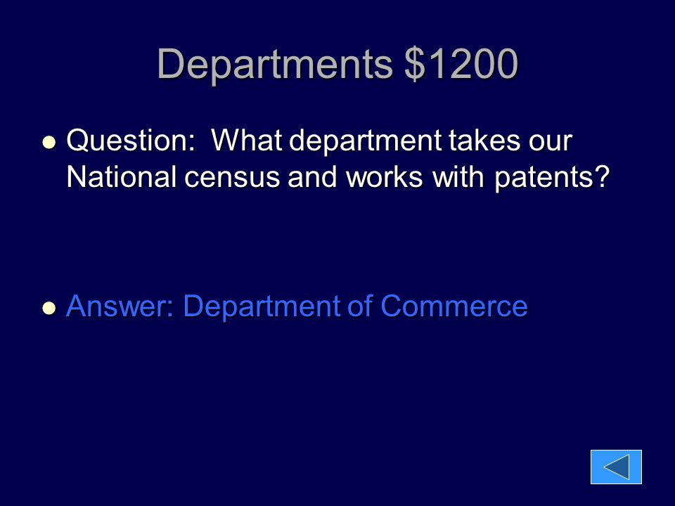 Departments $1200 Question: What department takes our National census and works with patents.