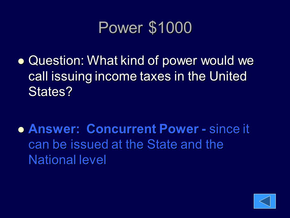 Power $1000 Question: What kind of power would we call issuing income taxes in the United States