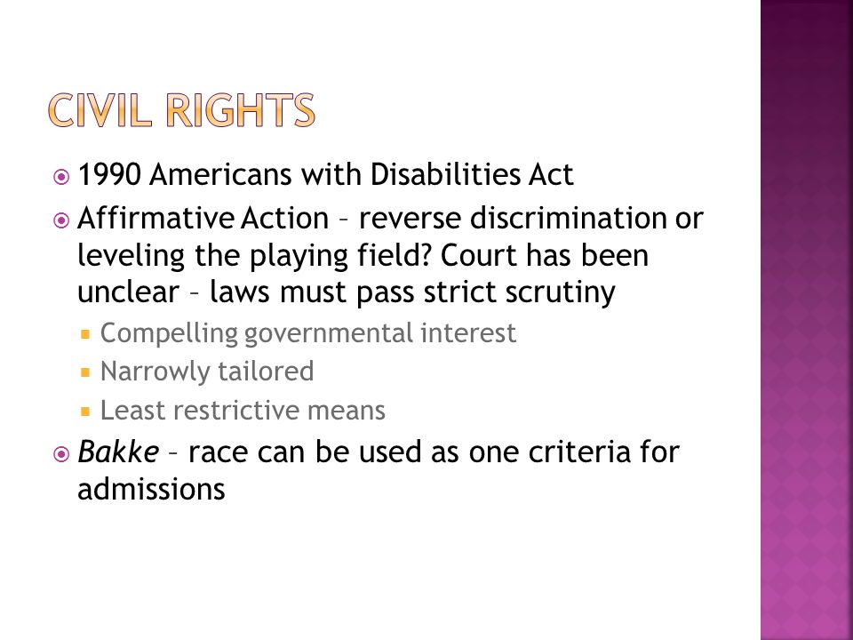 Civil Rights 1990 Americans with Disabilities Act