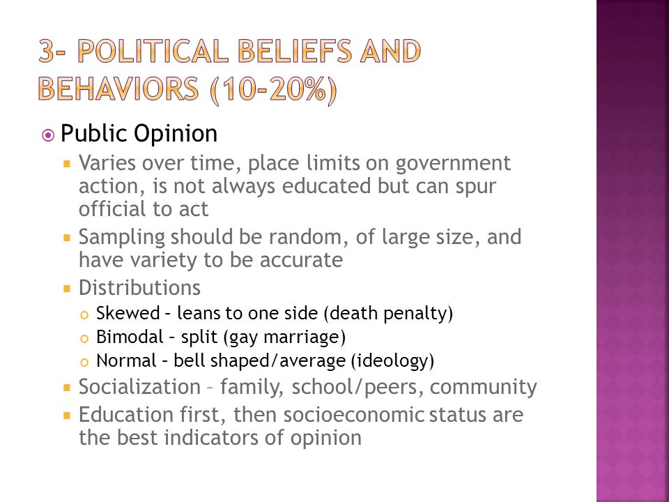 3- Political Beliefs and Behaviors (10-20%)