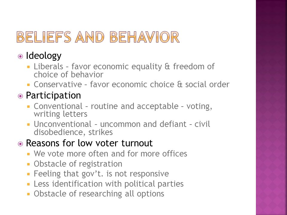 Beliefs and Behavior Ideology Participation
