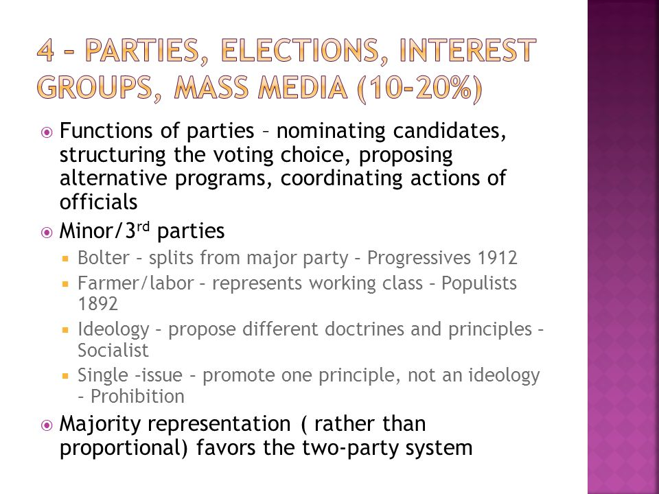 4 – Parties, Elections, Interest Groups, Mass Media (10-20%)