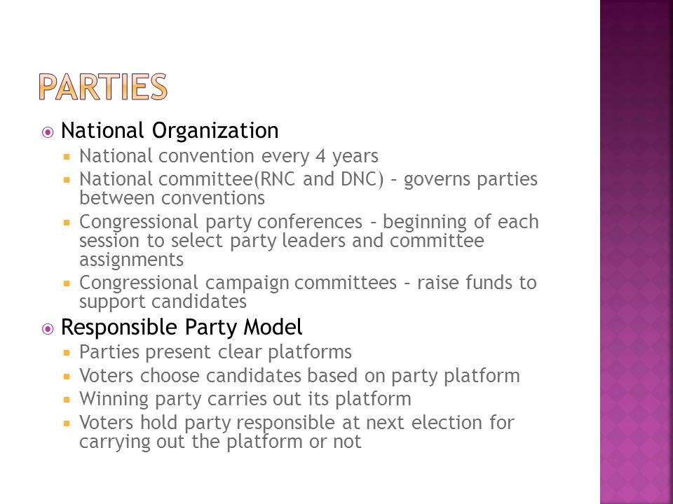 Parties National Organization Responsible Party Model