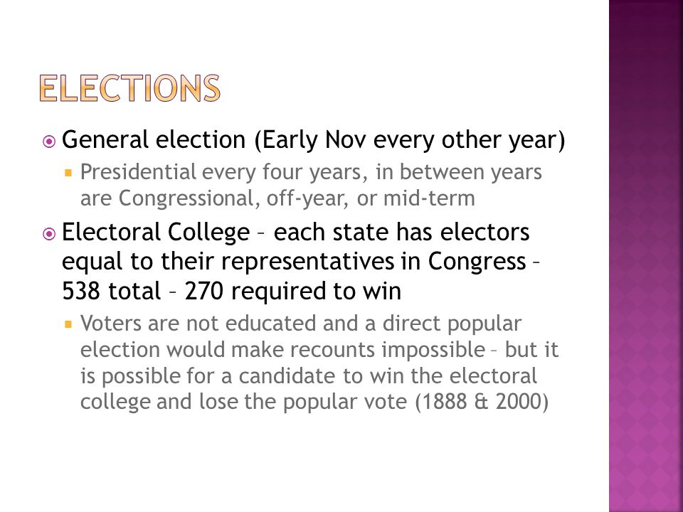 Elections General election (Early Nov every other year)