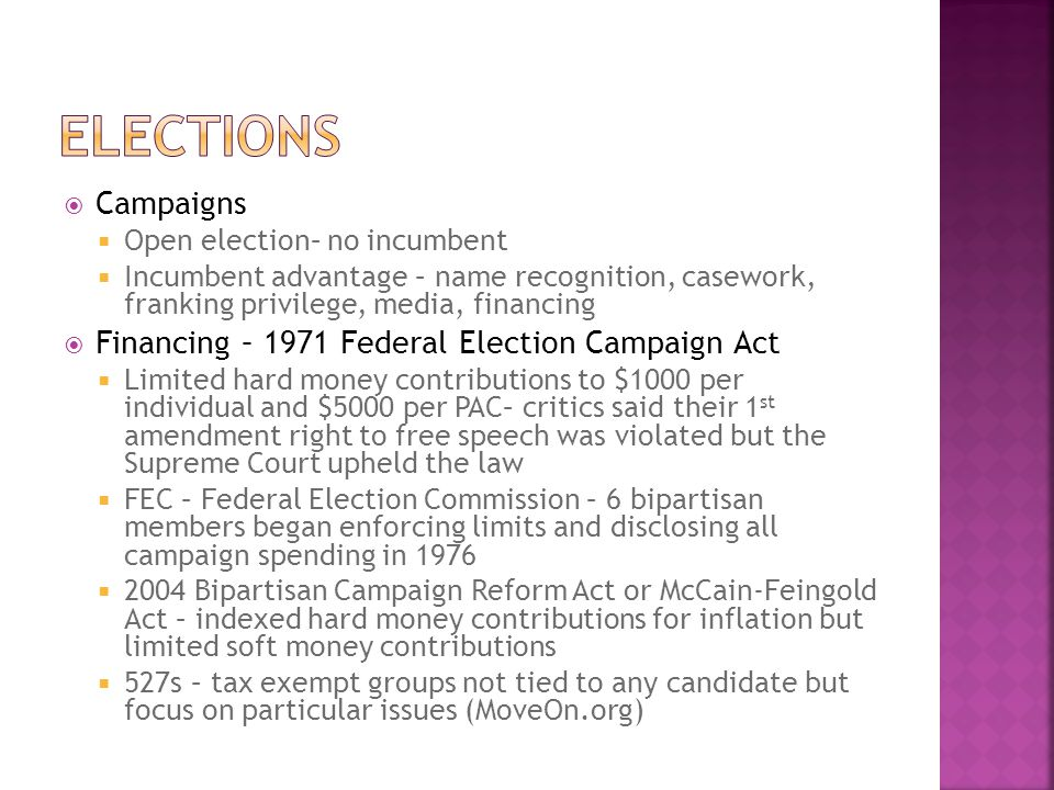 eLECTIONS Campaigns Financing – 1971 Federal Election Campaign Act