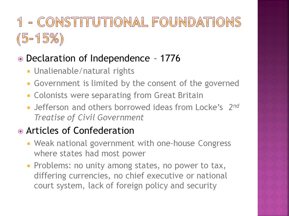 1 - Constitutional Foundations (5-15%)
