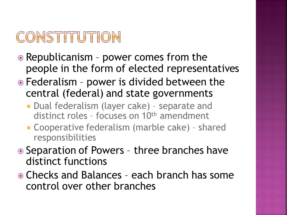 Constitution Republicanism – power comes from the people in the form of elected representatives.
