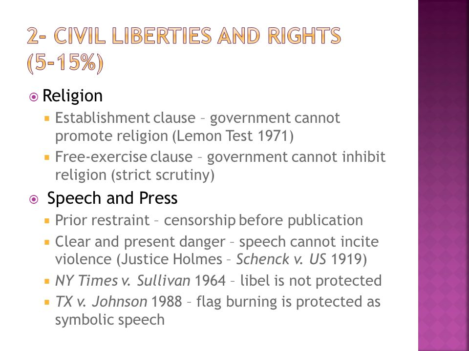 2- Civil Liberties and Rights (5-15%)