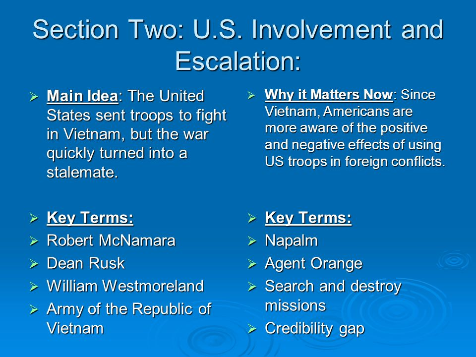 Section Two: U.S. Involvement and Escalation: