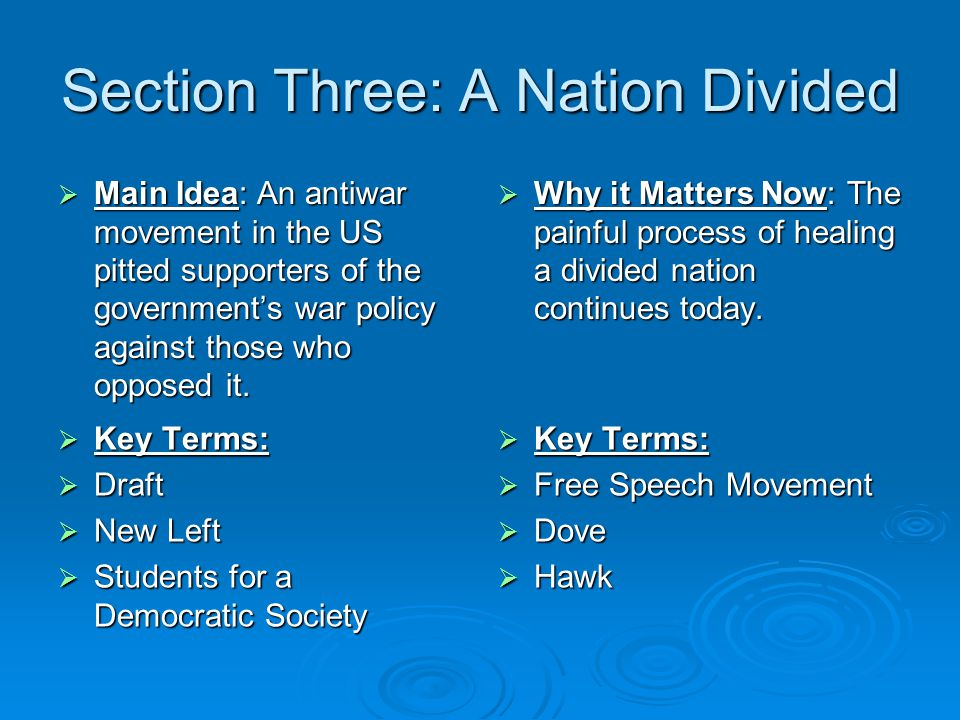 Section Three: A Nation Divided