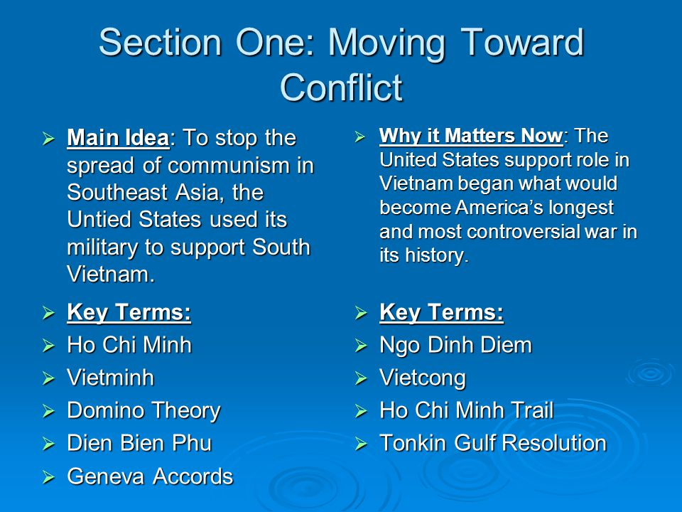 Section One: Moving Toward Conflict
