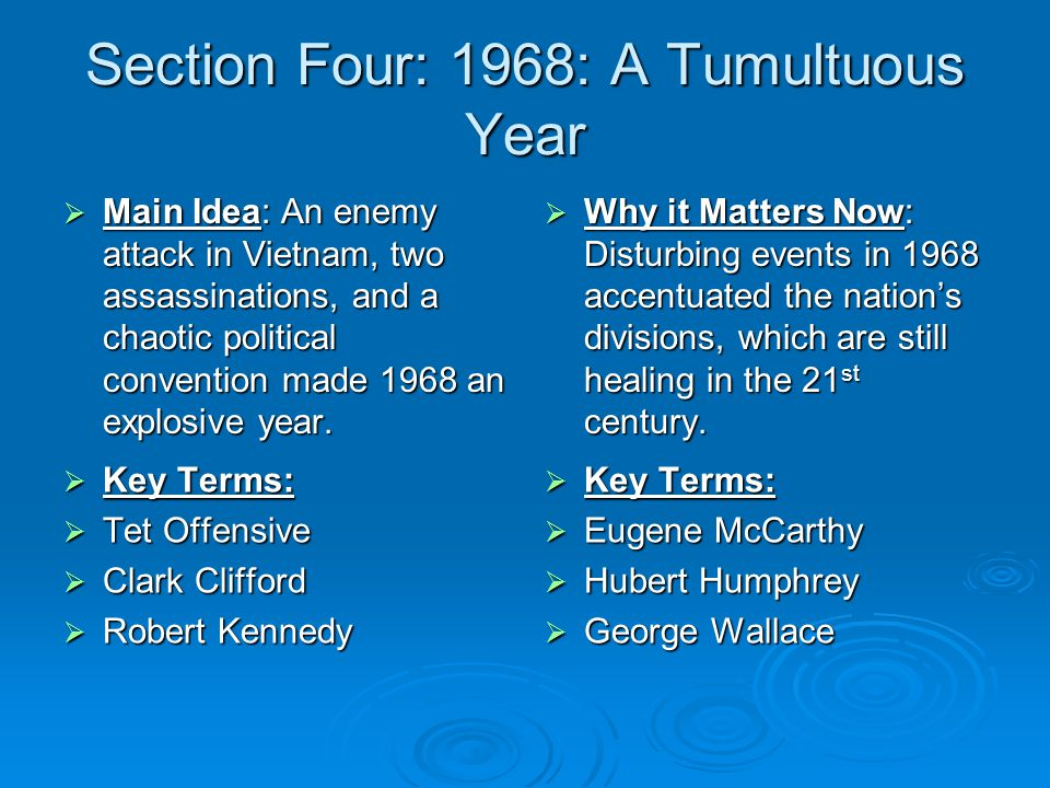 Section Four: 1968: A Tumultuous Year