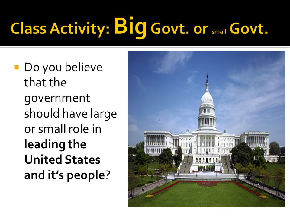 Class Activity: Big Govt. or small Govt.