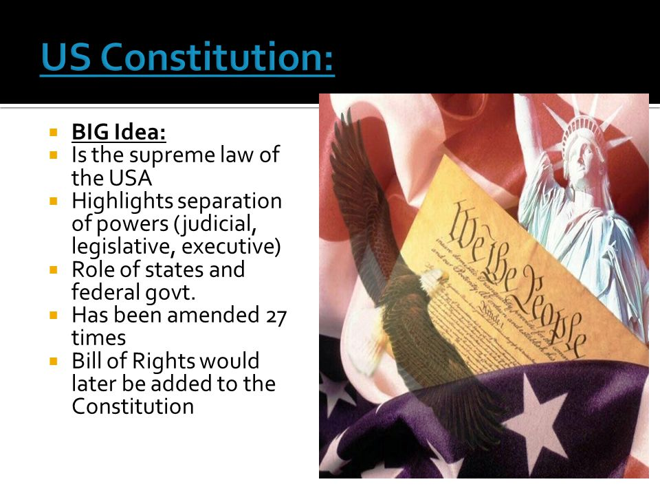 US Constitution: BIG Idea: Is the supreme law of the USA