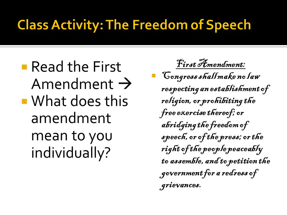 Class Activity: The Freedom of Speech