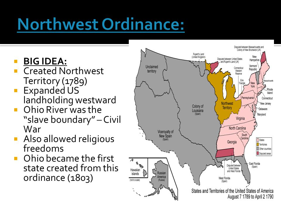 Northwest Ordinance: BIG IDEA: Created Northwest Territory (1789)