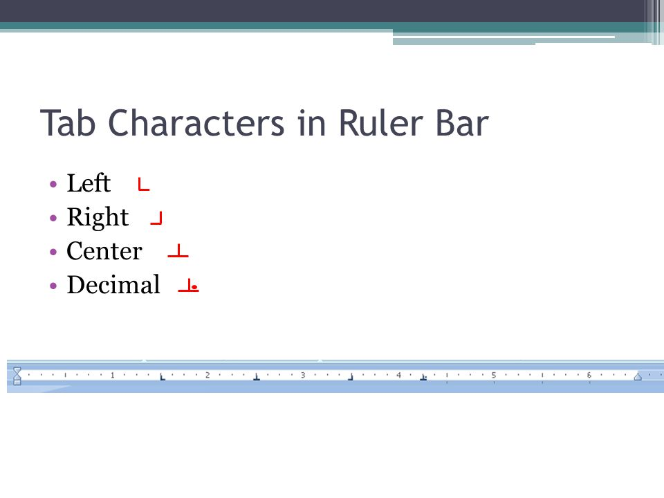 Tab Characters in Ruler Bar