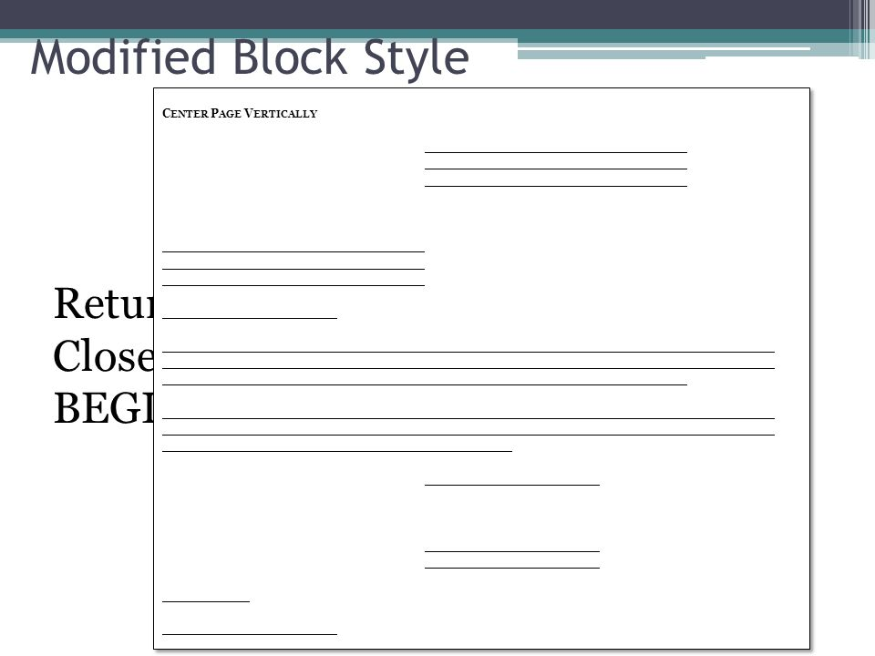 Modified Block Style Center Page Vertically.