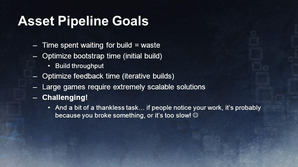 Asset Pipeline Goals Time spent waiting for build = waste