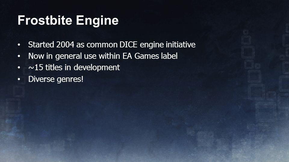 Frostbite Engine Started 2004 as common DICE engine initiative
