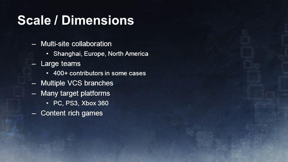 Scale / Dimensions Multi-site collaboration Large teams