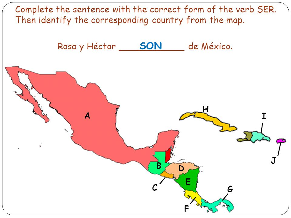 Complete the sentence with the correct form of the verb SER