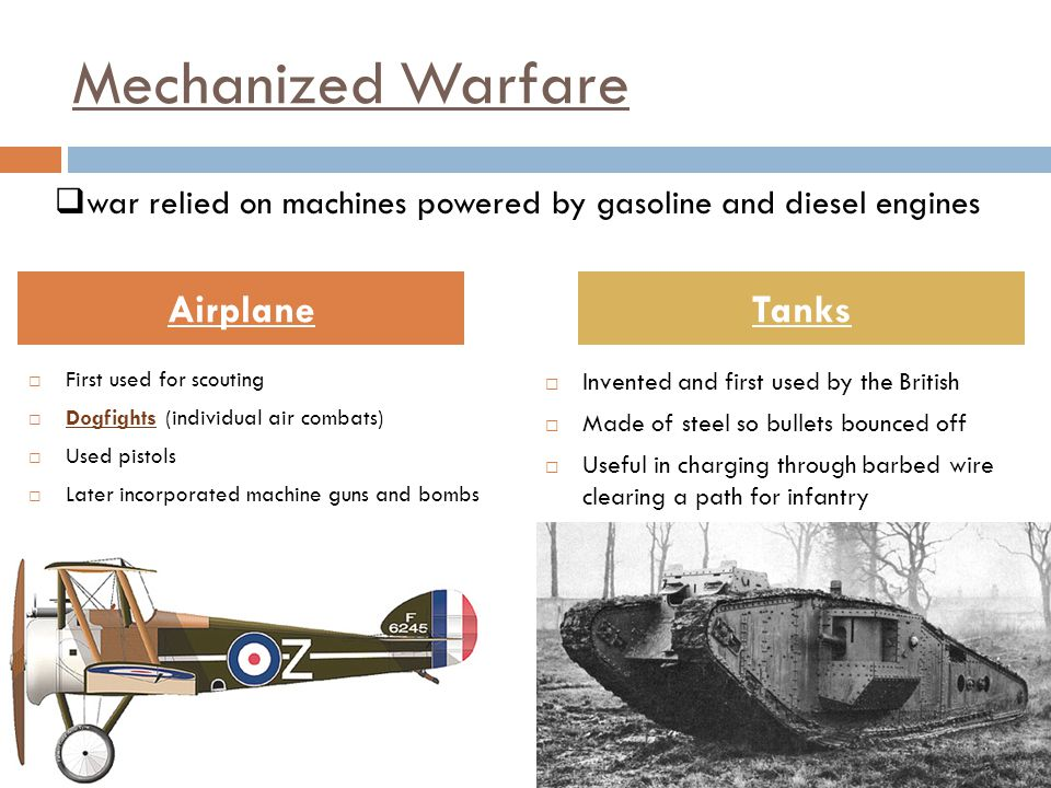 Mechanized Warfare Airplane Tanks
