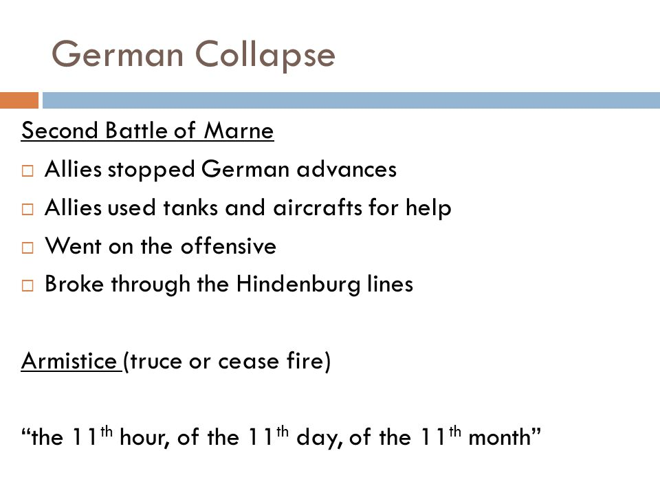 German Collapse Second Battle of Marne Allies stopped German advances