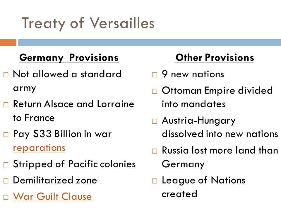 Treaty of Versailles Germany Provisions Not allowed a standard army