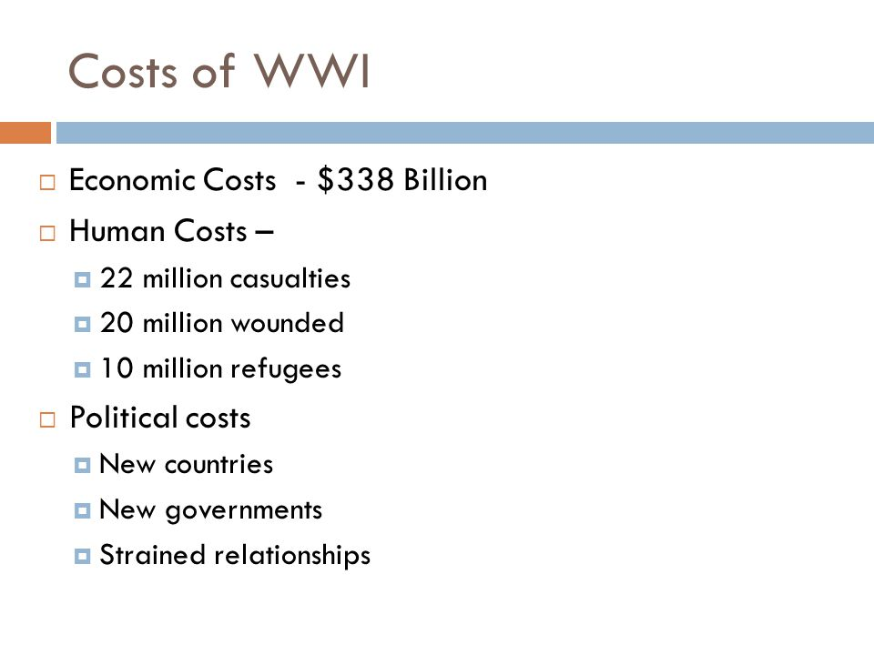 Costs of WWI Economic Costs - $338 Billion Human Costs –
