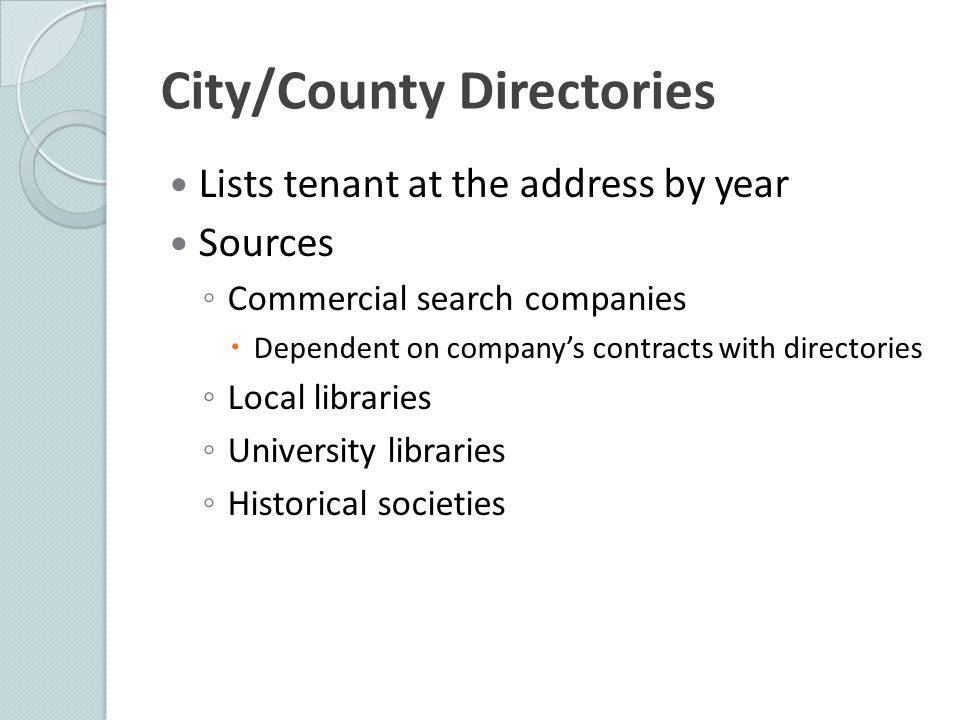 City/County Directories