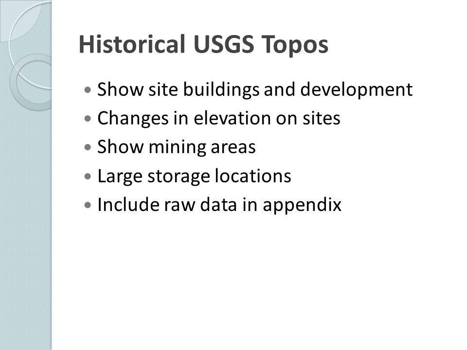 Historical USGS Topos Show site buildings and development
