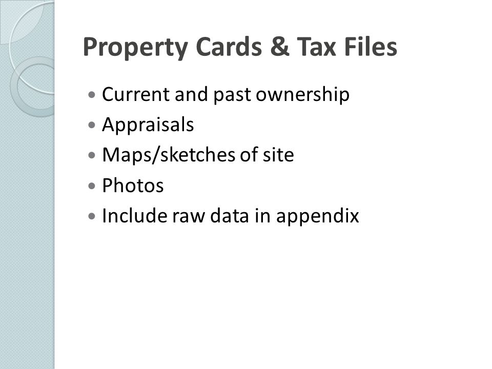 Property Cards & Tax Files