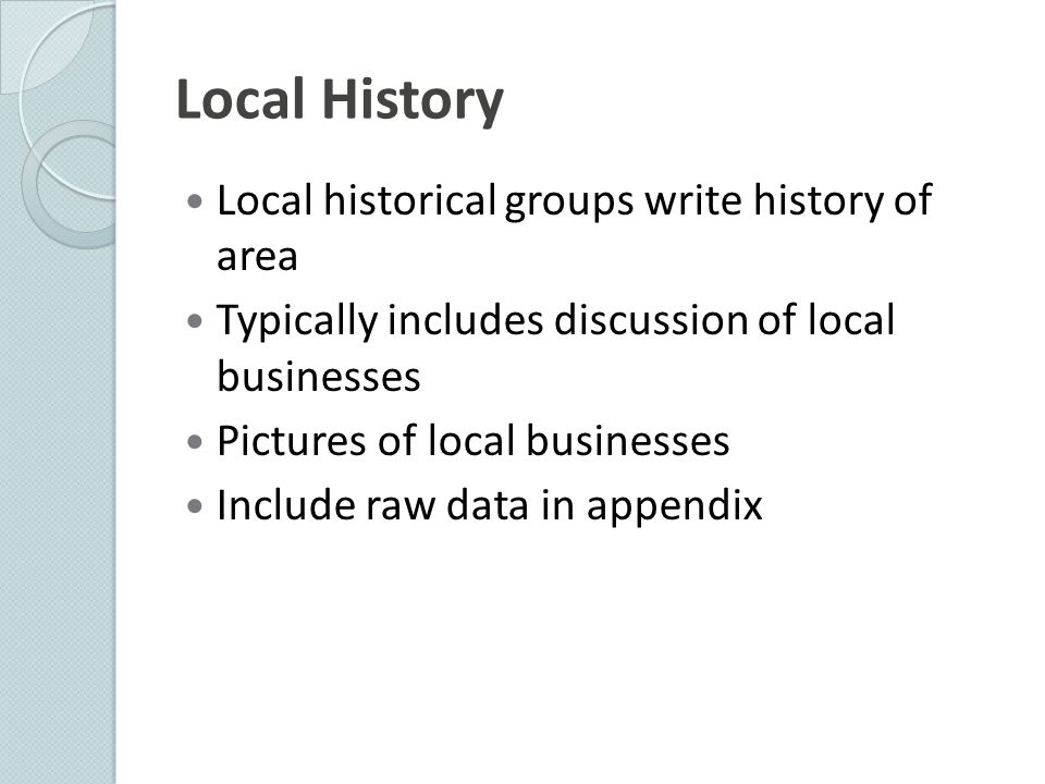 Local History Local historical groups write history of area