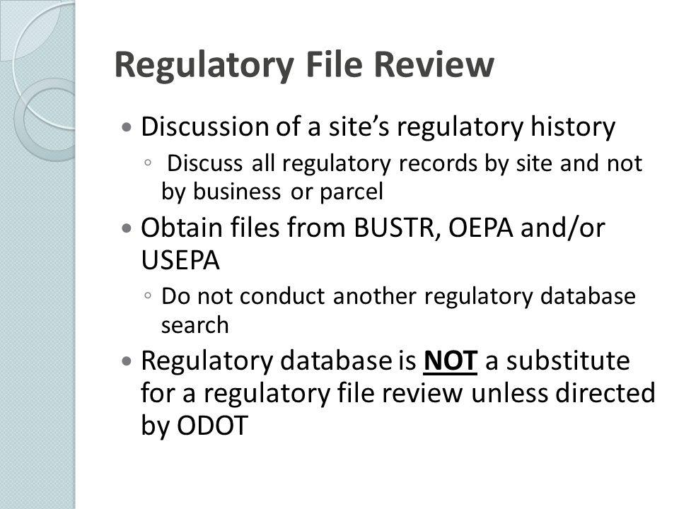Regulatory File Review