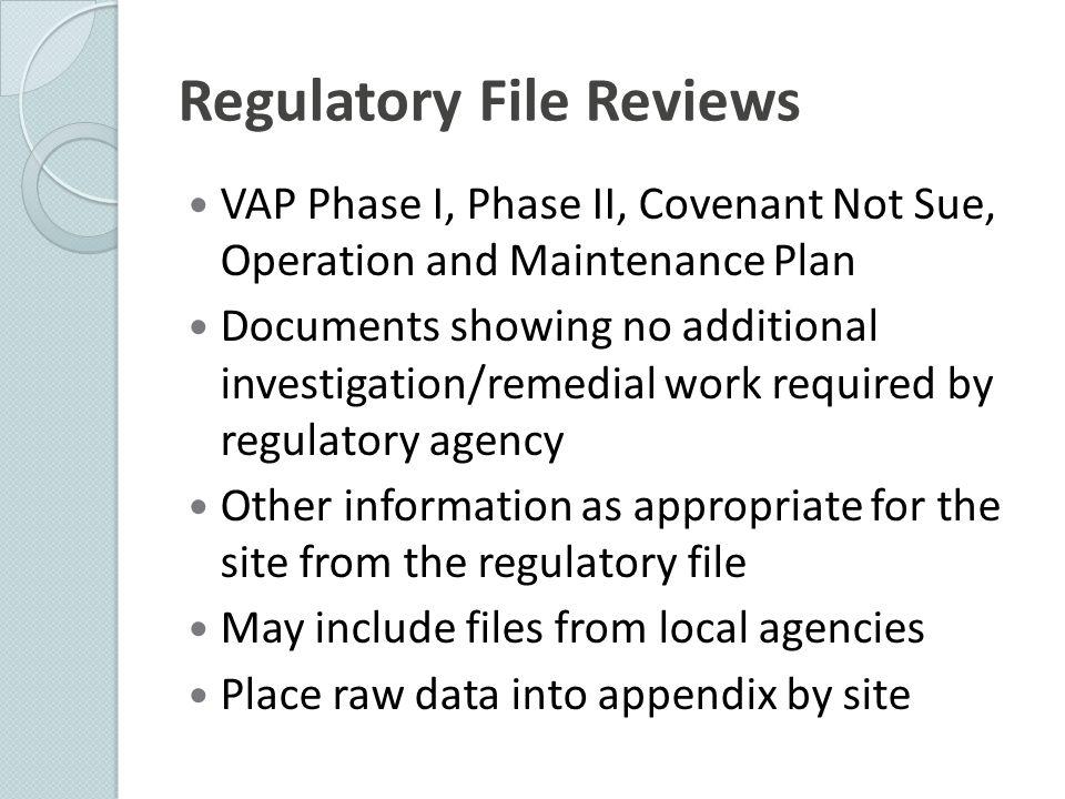 Regulatory File Reviews