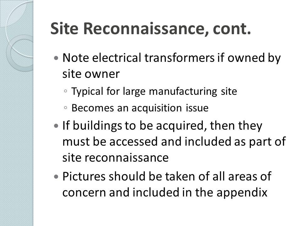 Site Reconnaissance, cont.