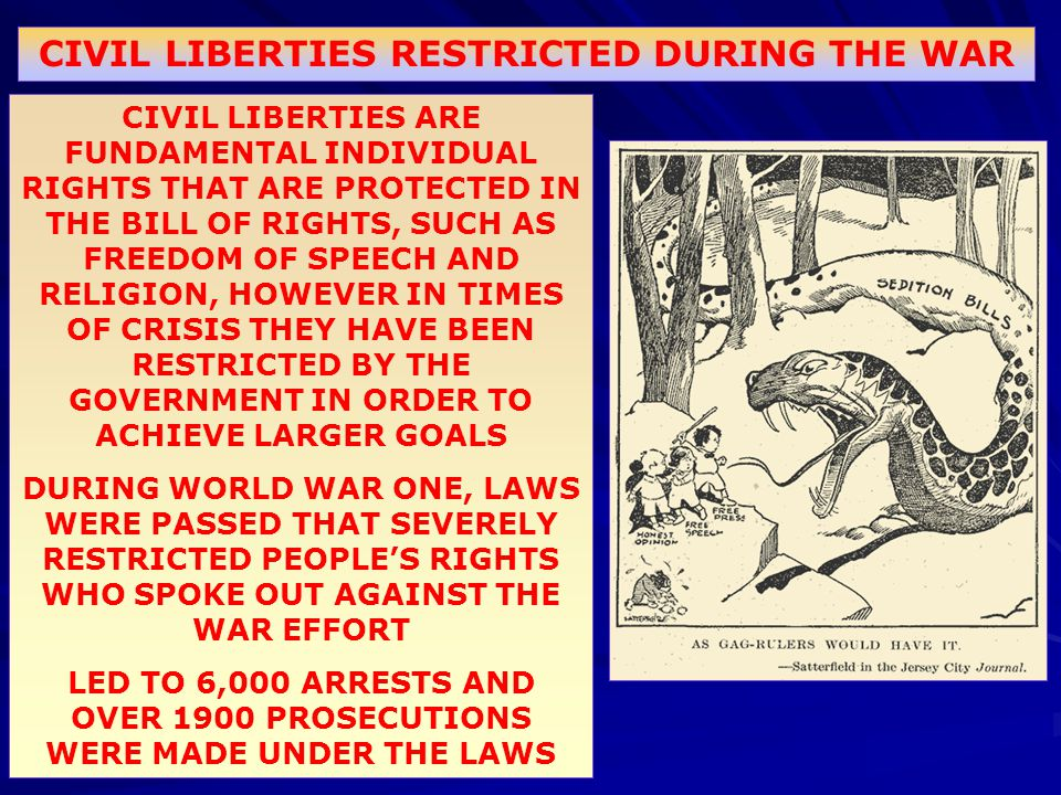 CIVIL LIBERTIES RESTRICTED DURING THE WAR