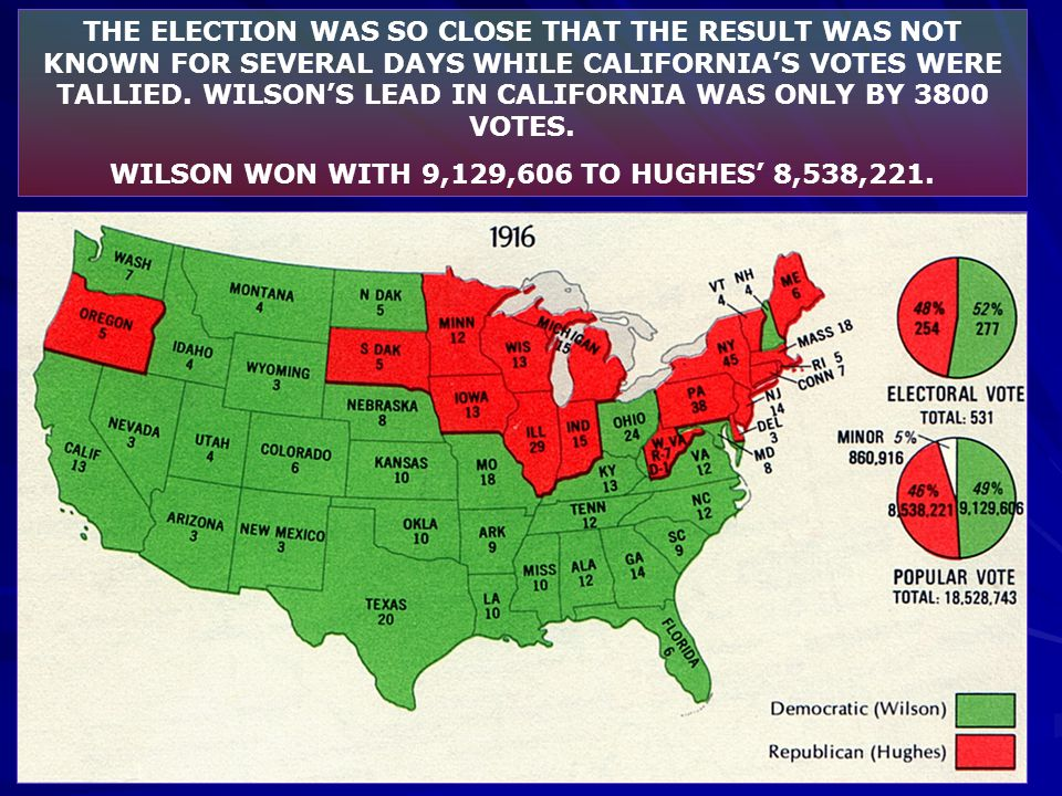 WILSON WON WITH 9,129,606 TO HUGHES' 8,538,221.