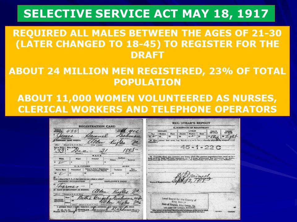 SELECTIVE SERVICE ACT MAY 18, 1917