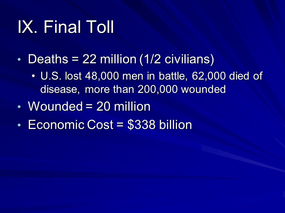 IX. Final Toll Deaths = 22 million (1/2 civilians)