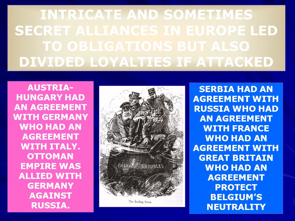 INTRICATE AND SOMETIMES SECRET ALLIANCES IN EUROPE LED TO OBLIGATIONS BUT ALSO DIVIDED LOYALTIES IF ATTACKED