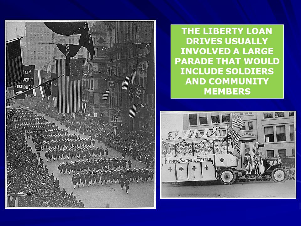 THE LIBERTY LOAN DRIVES USUALLY INVOLVED A LARGE PARADE THAT WOULD INCLUDE SOLDIERS AND COMMUNITY MEMBERS