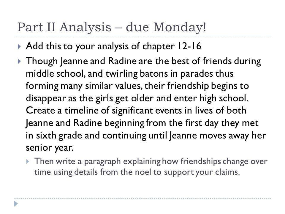 Part II Analysis – due Monday!