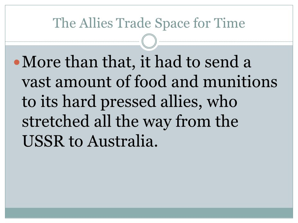 The Allies Trade Space for Time