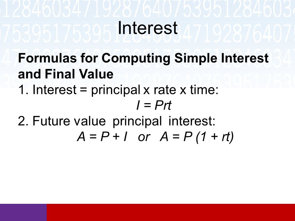 Interest Formulas for Computing Simple Interest and Final Value