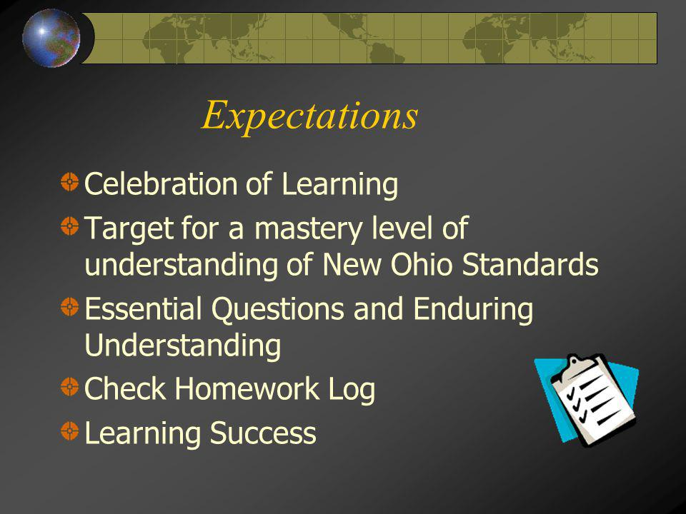 Expectations Celebration of Learning