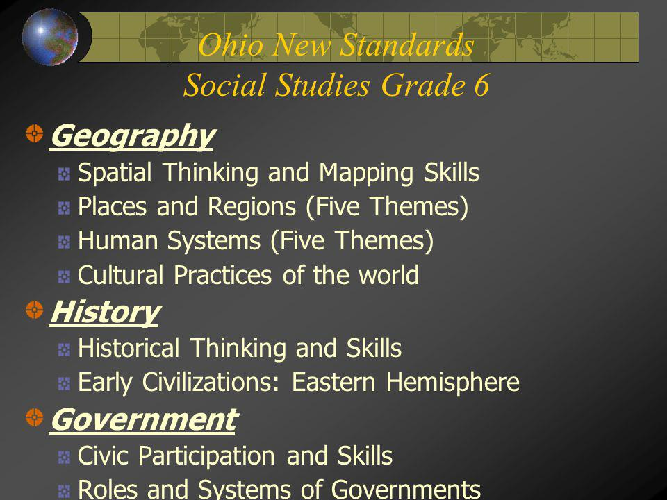 Ohio New Standards Social Studies Grade 6
